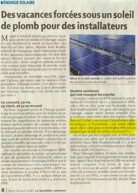 L'été a été calme pour les installateurs photovoltaïques